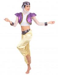 Itämaisen tanssijattaren violetti ja kullanvärinen naamiaisasu aikuiselle