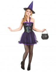 Naisten violetti Halloween-noidan asu