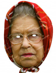 Kuningatar Elisabet II:n pahvinen naamari