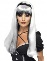 Naisten valkoisenmusta peruukki mustalla rusettikoristeella