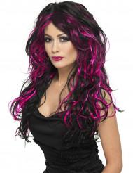 Musta peruukki vaaleanpunaisilla raidoilla naiselle