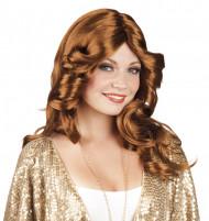 Diskotyylinen ruskea peruukki naisille