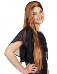 Pitkä ruskea peruukki naiselle