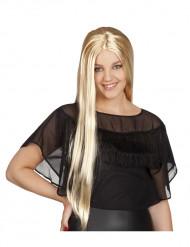 Pitkä blondi peruukki aikuisille
