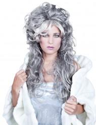 Naisten pitkä peruukki harmaalla kiharakampauksella
