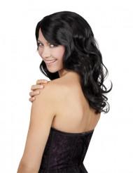 Naisten pitkä musta peruukki aaltoilevilla kiharoilla
