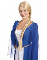 Naisten vaalea keskiaikainen peruukki letillä