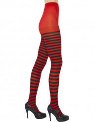 Mustapunaraidalliset sukkahousut naiselle