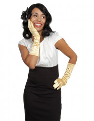 Kullanväriset pitkät hanskat naiselle