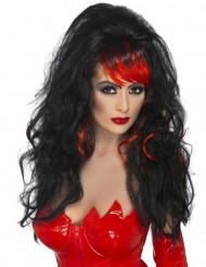 Musta peruukki punaisella otsatukalla