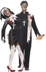Uskonnollisen parin zombiasut halloween