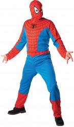 Aikuisten naamiaisasu Spider-Man/ Hämähäkkimies™ -haalari ja huppupäähine