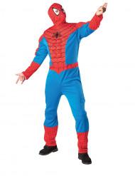 Aikuisten naamiaisasu Spider-Man/ Hämähäkkimies™ -topattu haalari ja huppupäähine