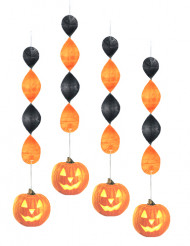 Halloween-kurpitsoilla somistetut spiraalikoristeet 4 kpl
