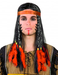 Intiaanin peruukki punaisilla höyhenillä