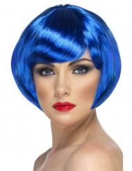 Naisten lyhyt, sininen kabareetyylinen peruukki