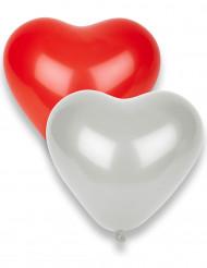 Punainen/valkoinen sydänilmapalllo 8kpl
