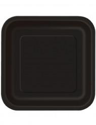 Suuret mustat pahvilautaset 23 cm 14 kpl