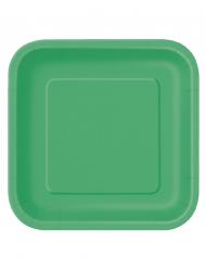 Vihreät neliönmuotoiset pahvilautaset 14 kpl