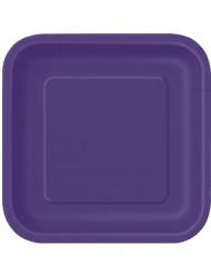 Violetit nelikulmaiset lautaset 14 kpl