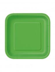 16 pientä vihreää neliönmuotoista pahvilautasta 18 cm