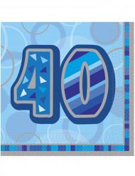 Siniset 40-vuotispäivien paperilautasliinat 33 x 33 cm - 16 kpl