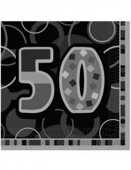 Mustanharmaat 50-vuotispäivien paperilautasliinat 33 x 33 cm - 16 kpl