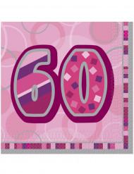 Vaaleanpunaiset 60-vuotispäivien paperilautasliinat 33 x 33 cm - 16 kpl