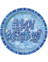 Siniset Happy Birthday -lautaset 8 kpl