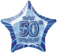 Tähden muotoinen sininen alumiinifoliopallo 50-vuotispäiville