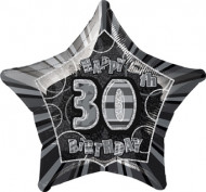 Tähden muotoinen mustanharmaa alumiinifoliopallo 30-vuotissynttäreille - 50 x 53 cm