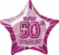 Vaaleanpunainen muotofoliopallo 50-vuotiaalle