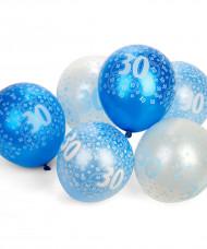 Siniset ilmapallot 30 v, 6 kpl