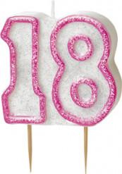 Pinkki kynttilä 18 v