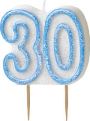 Sininen kakkukynttilä 30-v
