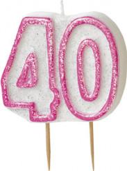 Pinkki kynttilä 40v-juhliin