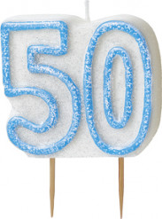 Sininen kakkukynttilä 50-v