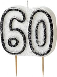 Harmaa kakkukynttilä 60-vuotispäiville