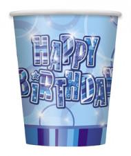Siniset Happy Birthday -pahvimukit, 8 kpl