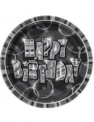 Harmaat kartonkilautaset Happy Birthday -tekstillä 23 cm - 8 kpl