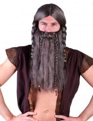 Harmaa viikingin peruukki ja parta aikuisille