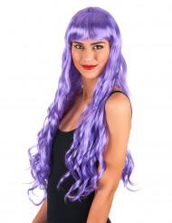Aikuisten violetti peruukki, pitkä, kihara