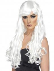 Valkoinen laineikas peruukki naiselle