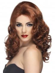 Naisen pitkä, ruskea ja kihara peruukki