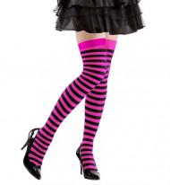 Pitkät musta-vaaleanpunaraidalliset sukat
