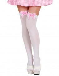 Pitkät valkoiset sukat ruseteilla aikuisille