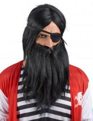 Aikuisten musta peruukki ja parta