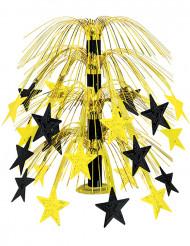 Pöytäkoriste mustilla ja kultaisilla tähtikoristeilla