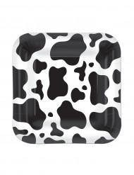Nelikulmaiset kartonkilautaset lehmäkuviolla 17,8 cm - 8 kpl