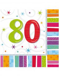 Värikkäät servetit 80-vuotissyntymäpäiville